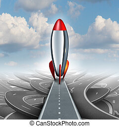 Business take off concept with a rocket ship on a straight road over a sky background of tangled streets as a freedom metaphor for escaping and taking an opportunity for higher financial success.