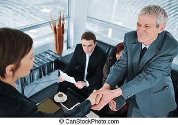 Business woman passes job interview