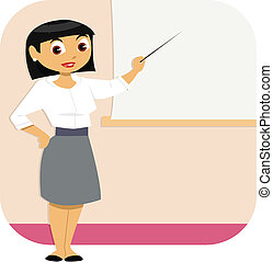 A well dressed business woman stands in a room to give a presentation. She points at the blank screen.