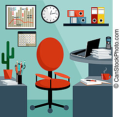 Business workplace with office things, equipment, objects. Vector