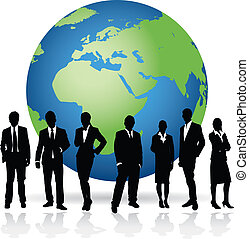 business people on a world background