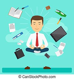 Business yoga vector illustration
