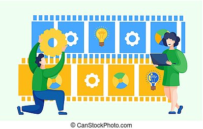 Businessman holding a gear concept of management and organization. Business creative intention