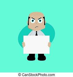 businessman manager at work holding blank sign cartoon vector art