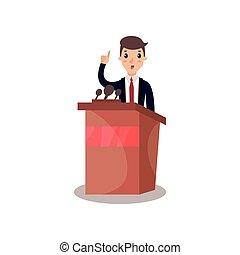 Businessman or politician character speaking from tribune, public speaker, political debates vector Illustration