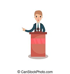 Businessman or politician character speaking to audience from tribune, public speaker, political debates vector Illustration