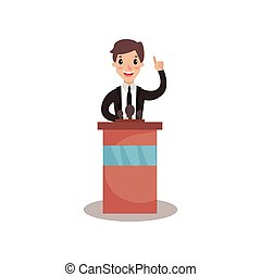 Businessman or politician character standing at tribune with microphone and giving a speech, public speaker, political debates vector Illustration