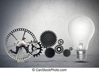 Businessman powering an idea