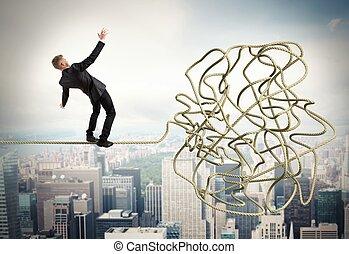 Businessman resolves confusing problem