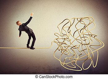 Businessman resolves the tangle
