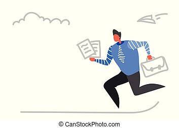 businessman running with briefcase paper documents business meeting hardworking deadline concept busy male office worker sketch doodle horizontal