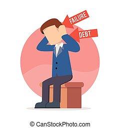 businessman sitting depressed
