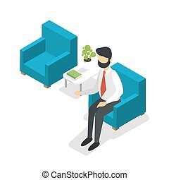Businessman sitting in the armchair and waiting
