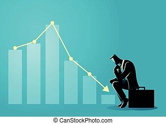Businessman sitting listless due to decreasing graphic chart