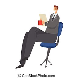 Businessman sitting on a chair with paper documents in his hands and drinking tea or coffee. Character vector illustration isolated on white background.