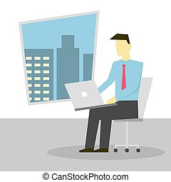 Businessman sitting on chair and working on laptop on lap