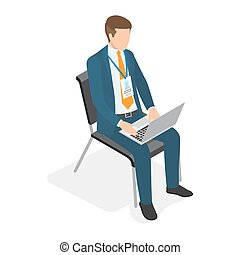 Businessman Sitting on Chair with Laptop and Typing