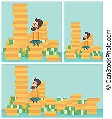 Businessman sitting on gold vector illustration.
