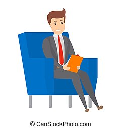 Businessman sitting on the armchair and working.
