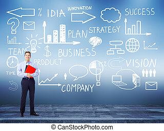 Businessman standing near Innovation plan.