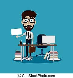 businessman working behind office desk holding blank sign