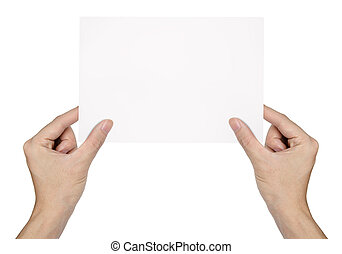 Businessman's hand holding blank paper isolated on white background