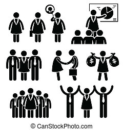 A set of human stick figure representing the concept of a strong businesswoman as a female ceo in her workplace.