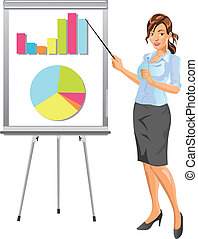 Beautiful Businesswoman Delivering Presentation in Business Meeting