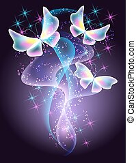 Glowing butterflies and smoke with sparkle stars