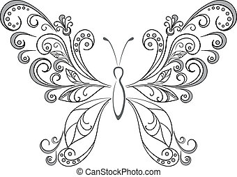 Abstract butterfly, black contour silhouettes on white background. Vector