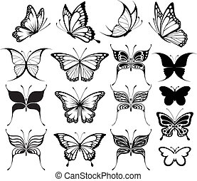 set of butterflies silhouettes isolated on white background in vector format very easy to edit, individual objects