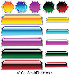 Buttons, scaleable glossy rounded rectangles and circles in assorted colors