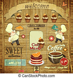 Cafe Confectionery Menu Card in Retro style - Cooks brought Dessert on Wooden Grunge Background - Vector illustration
