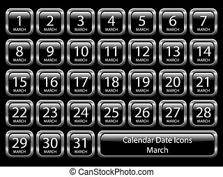 Glossy icon set showing calendar dates for March. Available in jpeg and eps8.
