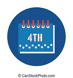 calendar with stars fourth july block style