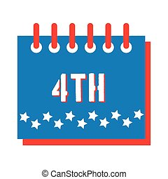 calendar with stars fourth july flat style