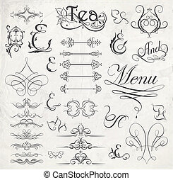 calligraphic design elements and page decoration. Vector illustration