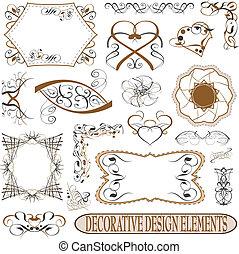 calligraphic elements vintage set. retro feather vector