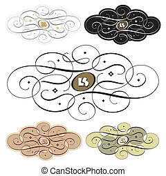 calligraphic swirl set, scalable and editable vector illustration;