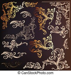 Calligraphic vector vintage design elements and swirls in gold color