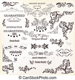 Calligraphic vector vintage design elements , decorations and swirls