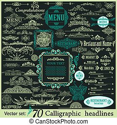 Calligraphic vintage design elements