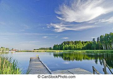Calm lake under vivid sky in summer