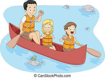 Illustration of Campers Boating