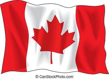 Canadian wavy flag isolated on white background