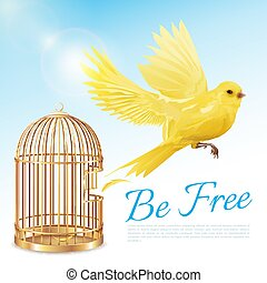 Canary Flying From Cage Poster