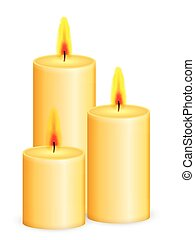 Candles on a white background. Vector illustration.