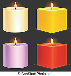 Set of 4 color candles.