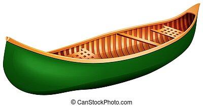 Green canoe in simple design
