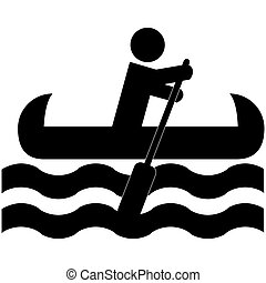 Icon illustration showing a man rowing a canoe